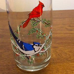 "Glass blue jay and cardinal 5"""